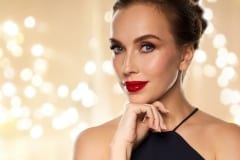 close up of beautiful woman with red lipstick
